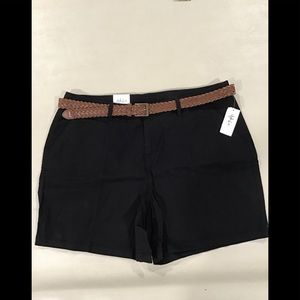 Style & Co. Black Shorts with Leather Belt, 18W
